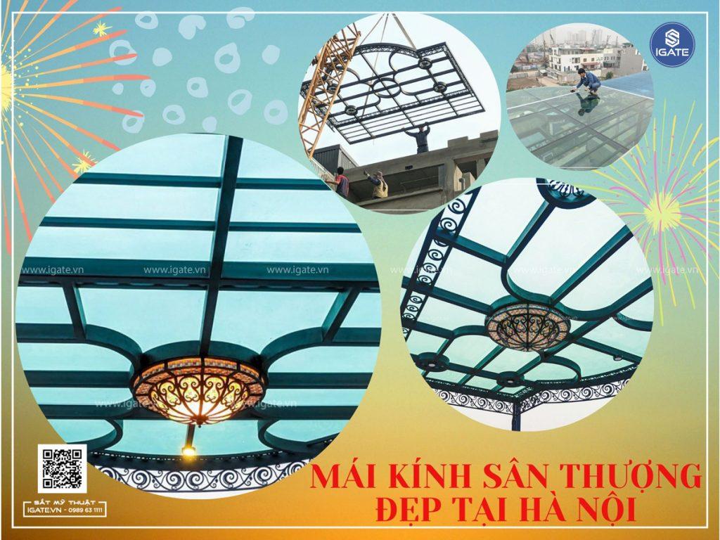 Mái kính sân thượng đẹp tại Hà Nội