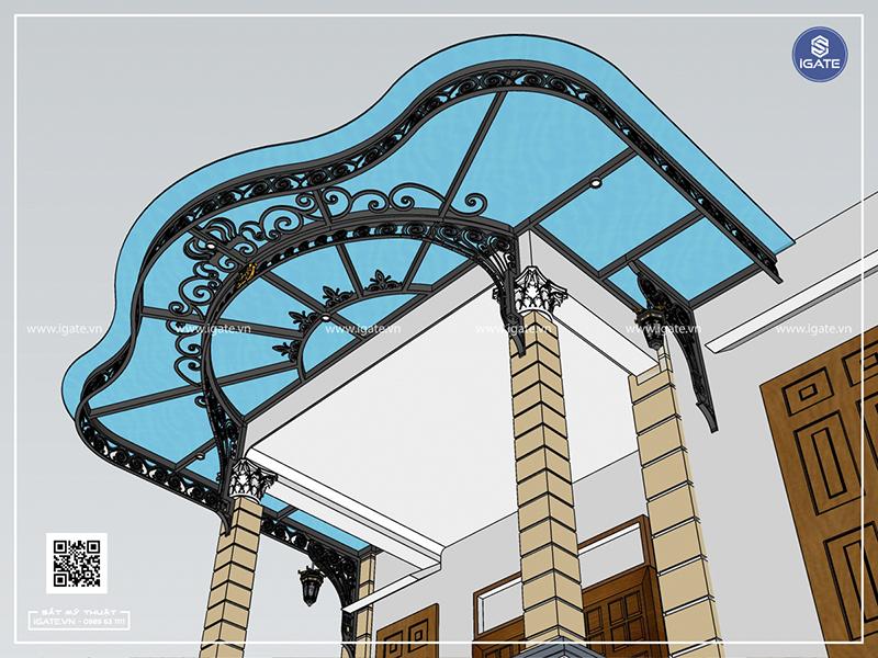 Mái kính sắt nghệ thuật iGATE là một sự kết hợp hoàn hảo giữa kính và khung sắt uốn nghệ thuật